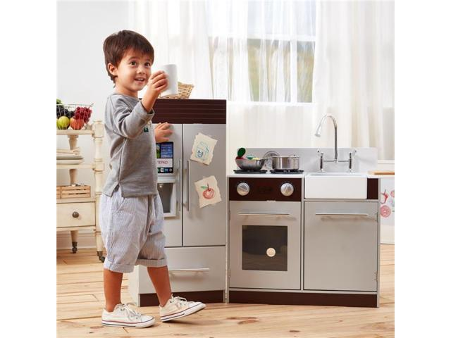 Teamson Kids TD-12302B Little Chef Chelsea Modern Play Kitchen, Grey &  Espresso