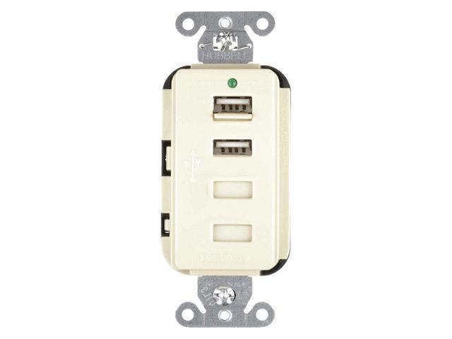 HUBBELL WIRING DEVICE-KELLEMS USB4LA 20A Duplex USB Charge ... on