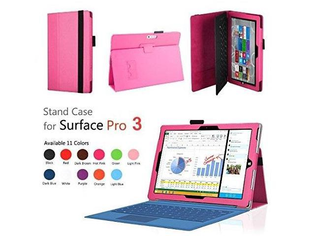 Elsse (TM) Premium Folio Case with Stand for Microsoft Surface Pro 3  (Keyboard and Tablet NOT included) (Surface Pro 3, Hot Pink) - Newegg com
