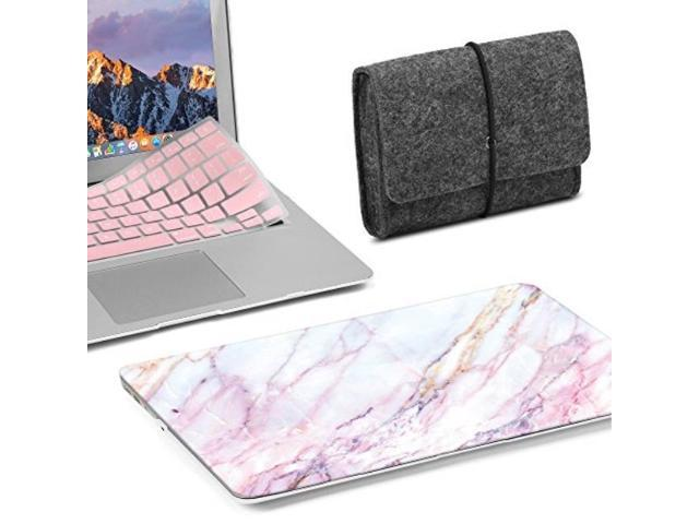 buy popular 21ad0 36c32 gmyle 3 in 1 bundle grey felt storage pouch bag & pink marble softtouch  matte plastic hard case with rose quartz keyboard cover for macbook air 13  ...