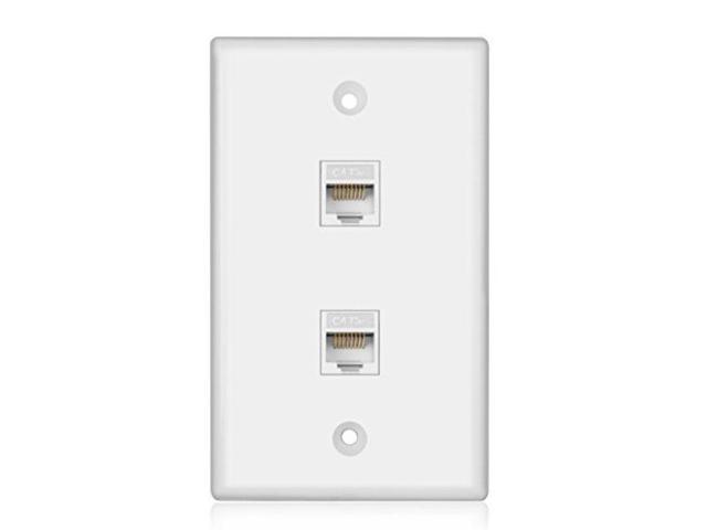 tnp ethernet network cat5e wall plate dual 2 port rj45