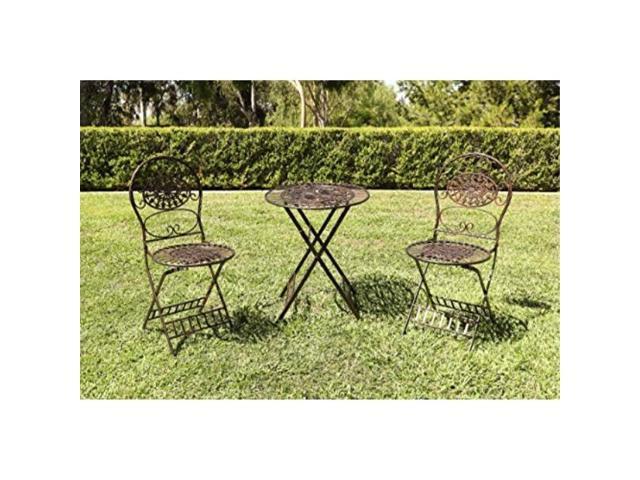 Enjoyable Alpine Corporation Kiy212Abr Metal Bistro Table 2 Chairs Set Foldable Garden Furniture Brown Spiritservingveterans Wood Chair Design Ideas Spiritservingveteransorg
