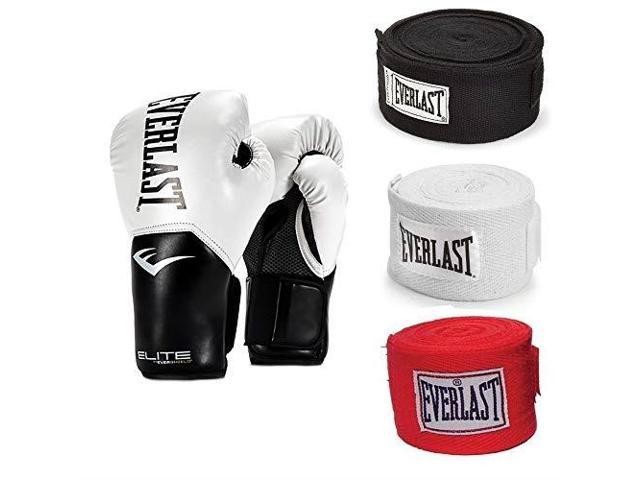 Pink and 120 Inch Hand Wraps Everlast Elite Pro Boxing Gloves Size 8 White
