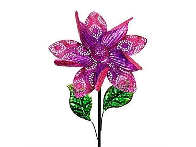 Purple Flower Wind Spinner Garden Stake
