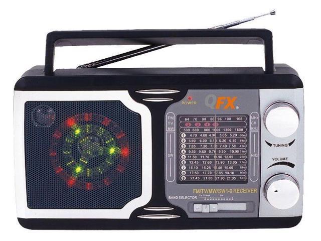 Disco Light Speaker QFX R-14 AM//FM//TV//SW1-SW9 12-Band Portable Mini Radio