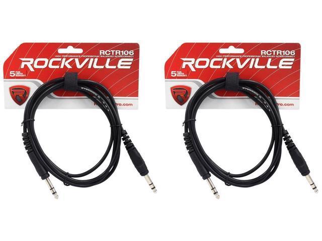 2 Rockville RCTR103B Black 3/' 1//4/'/' TRS to 1//4/'/' TRS Cable 100/% Copper