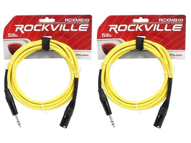 2 Rockville RCXMB10-B Black 10/' Male REAN XLR to 1//4/'/' TRS Balanced Cables