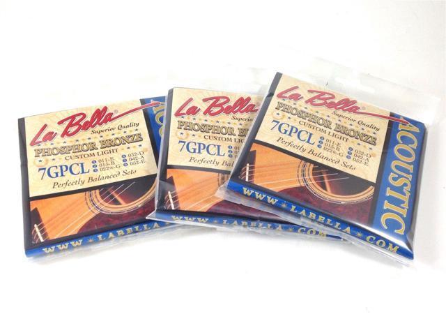 la bella guitar strings 3 pack acoustic phosphor bronze custom light 011 052. Black Bedroom Furniture Sets. Home Design Ideas