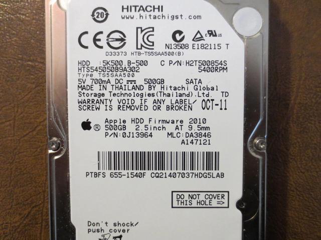 HTS545050B9A302 Hitachi 500GB SATA 2.5 Hard Drive MLC DA3846 PN 0J13964