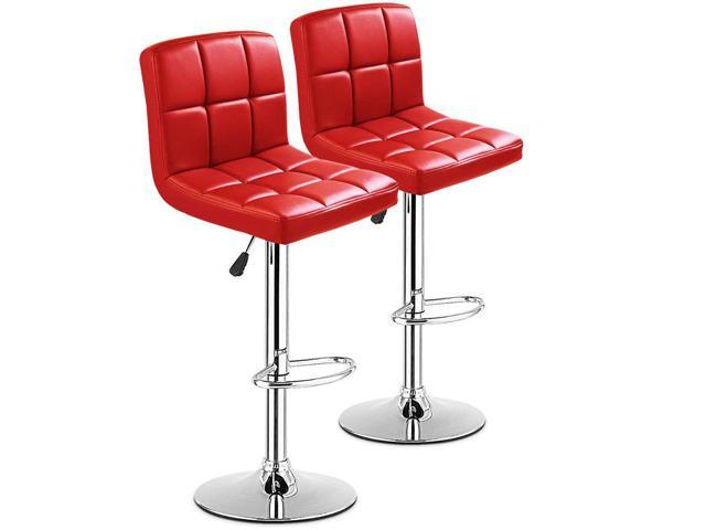 Sensational Set Of 2 Bar Stools Pu Leather Adjustable Barstool Swivel Pub Chairs Red New Newegg Com Alphanode Cool Chair Designs And Ideas Alphanodeonline