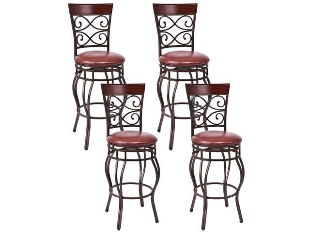 Magnificent Set Of 4 Vintage Bar Stools Swivel Padded Seat Bistro Dining Kitchen Pub Chair Newegg Com Creativecarmelina Interior Chair Design Creativecarmelinacom