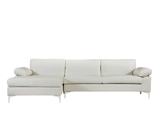 Modern Large Faux Leather Sectional Sofa L-Shape Couch, Extra Wide Chaise,  White