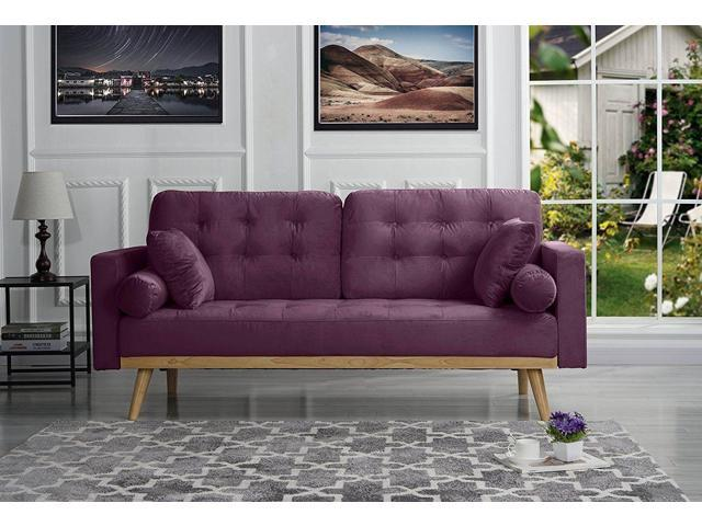 Mid-Century Modern Tufted Velvet Fabric Sofa with Wooden Frame/Legs  (Purple) - Newegg.com