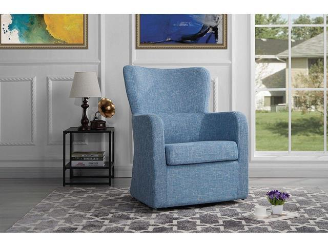 . Modern Living Room Chair Fabric Swivel Armchair Classic Arm Chair  Light  Blue    Newegg com