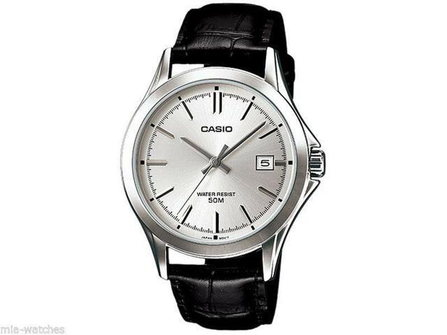 Casio Mtp1380l 7a Mens Leather Dress Watch 50m Silver Dial Date Newegg Com