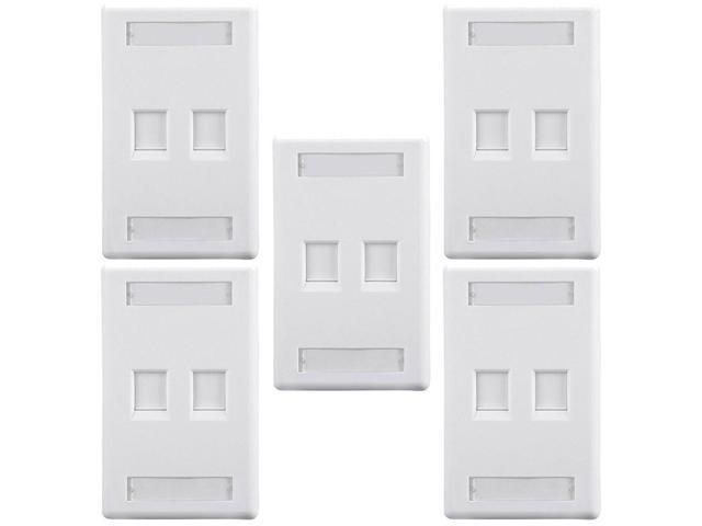5x 2 Port Hole 1-Gang Wall Plate Keystone Jack Insert Snap-in Label Window  White - Newegg com