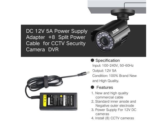 DC 12V 5A Power Supply CCTV Security Camera DVR 8 Split Swann Lorex Defender