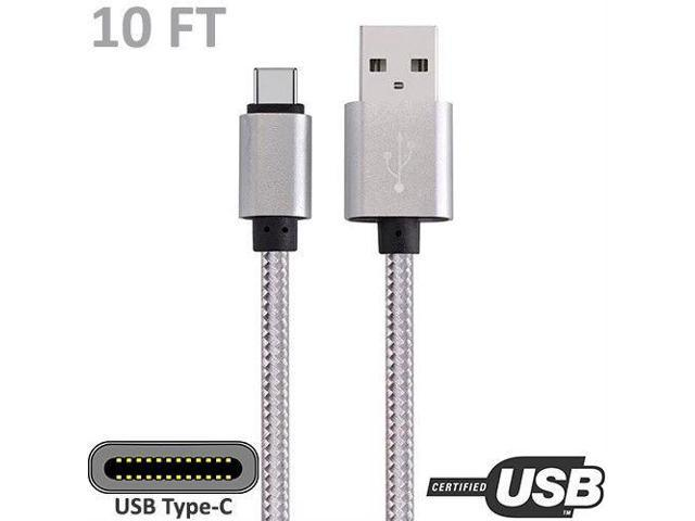 10ft USB-C to USB-A Cable Cord M//M Charge Sync Data PC Laptop Smartphone Pink