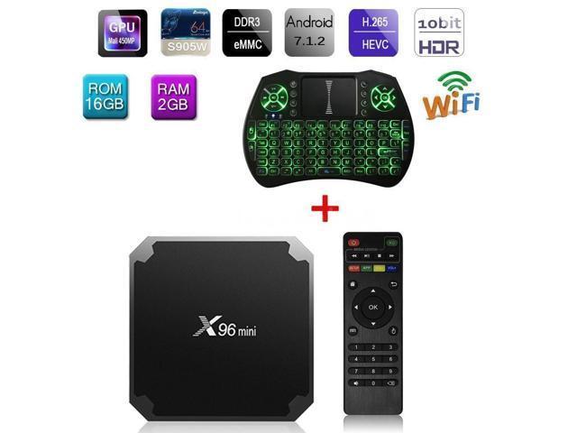 Android 7 1 TV Box X96 Mini 4K 2GB / 16GB WiFi HD Media Backlit Keyboard  Z7C7 - Newegg com
