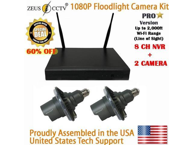 ZEUS CCTV 8 Channels standalone Pro Wi-Fi NVR System + 2 Twist in Pro  floodlight Surveillance Security Cameras Complete Install Kit with Hard  Drive -