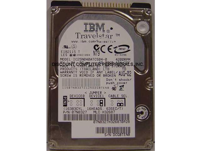 "IBM TravelStar 40GB IC25N040ATCS040-0 4200RPM PATA 2.5/"" Laptop HDD Hard Drive"