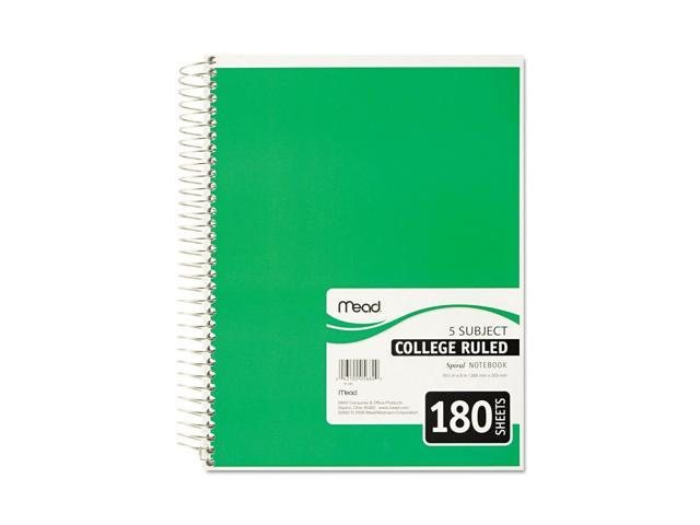 Mead Spiral Notebook 5 Subject College Ruled 180 Sheets 1 Noteb   ping -  Newegg com