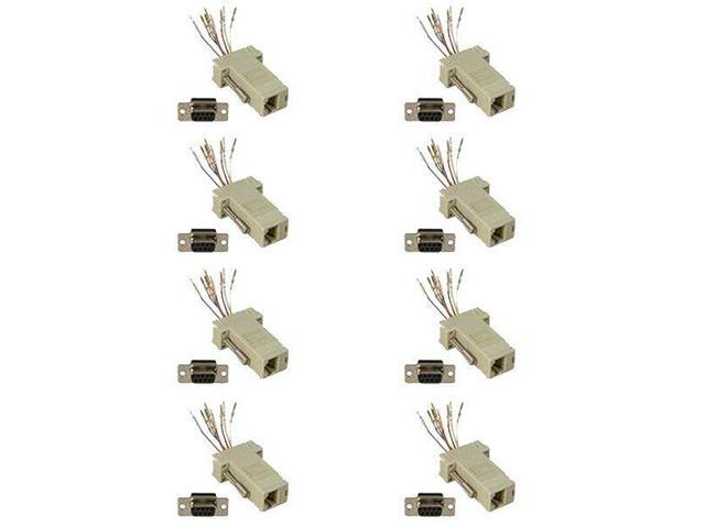 DB9-Male to RJ11//12 6 wire Modular Adapter Ivory