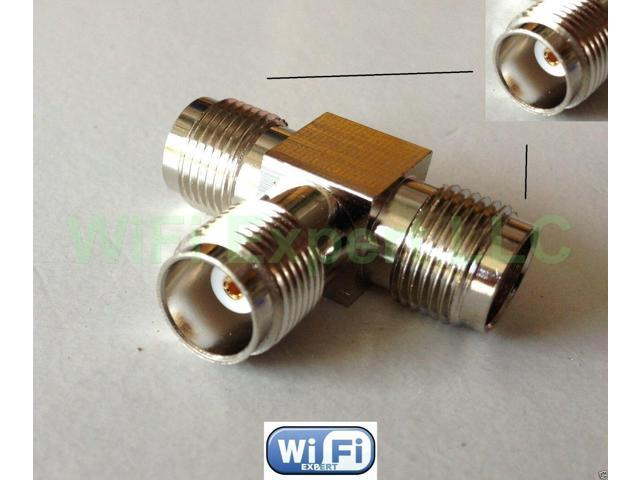 TNC Male To 2 TNC Female in series T Adapter RF Connector Antenna Router USA