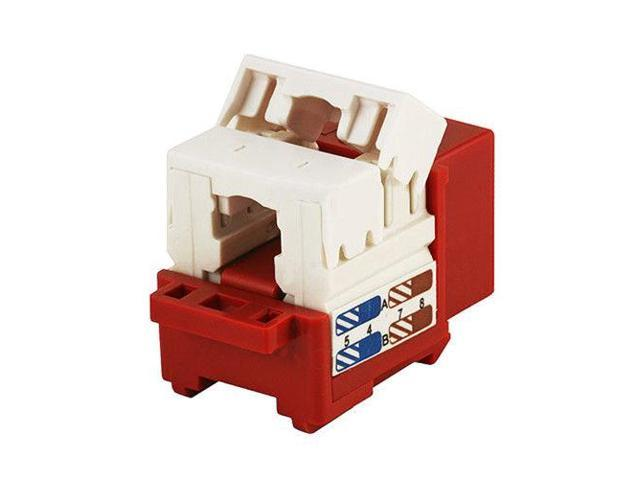 4x Cat6 RJ45 Network Keystone Jack Punch Down 4 Pack Red For Wallplate//Panel