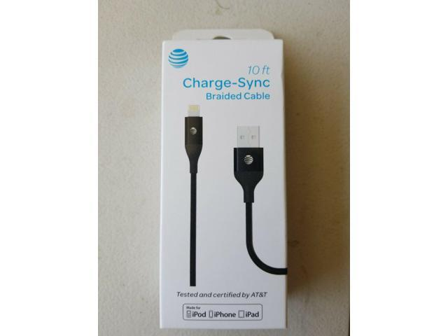 At/&t Charging Sync Braided Cable 10ft Black For Iphone Ipod And Ipad