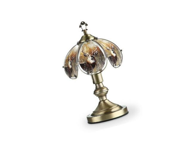 Ok Lighting Ok 603ab De8 14 25 Inch Touch Lamp With Deer Theme Antique Bronze
