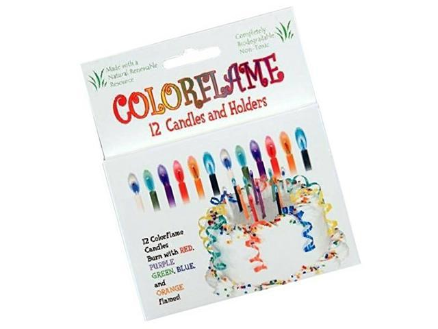 BC Colorflame Birthday Candles With Colored Flames 12 Per Box Kitchen