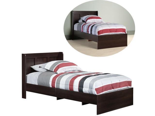 Twin Size Bed Frame Single Headboard Brown Wood Kids Toddler Bedroom  Furniture