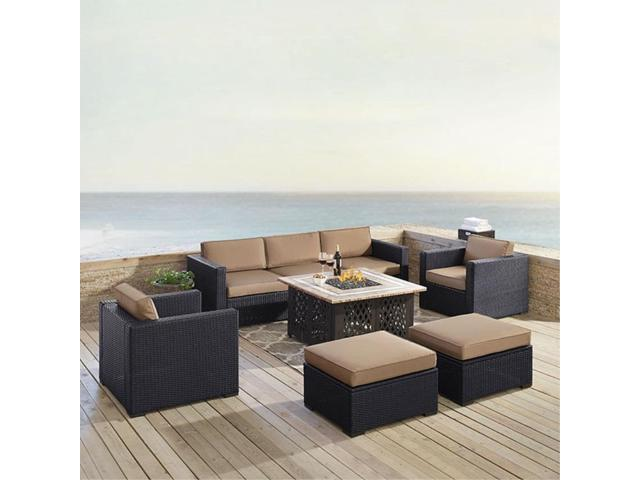Wondrous Biscayne 7 Person Outdoor Wicker Seating Set In Mocha One Loveseat One Corner Chair Two Arm Chairs Two Ottomans Tucson Firetable Newegg Com Pabps2019 Chair Design Images Pabps2019Com