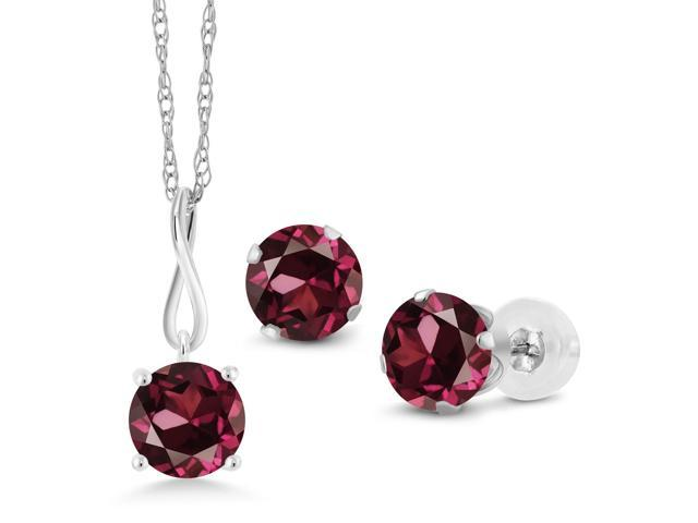 55cd61cc3f6f9 3.00 Ct Red Rhodolite Garnet 10K White Gold Pendant Earrings Set With Chain  - Newegg.com
