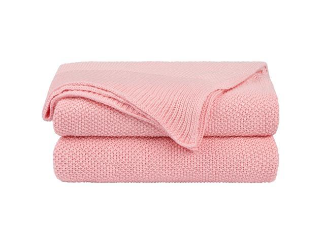 100% Cotton Knit Throw Blanket,Solid Decorative Sofa Throws Soft Pink  Knitted Throw Blankets for Sofa Couch,50\