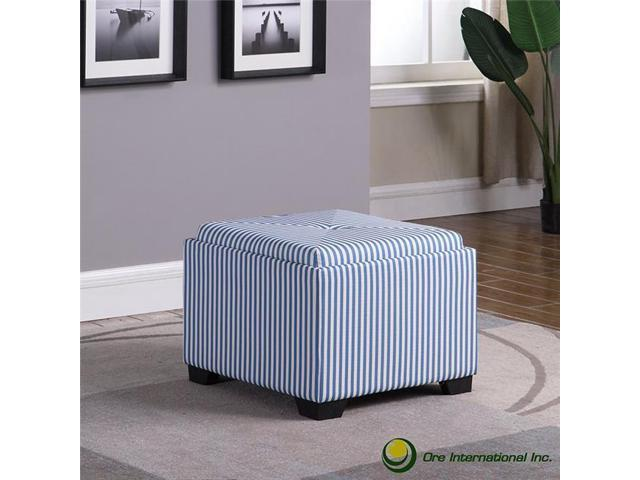Incredible Ore Furniture Hb4773 17 5 In Stripes Single Tufted Storage Ottoman Blue Camellatalisay Diy Chair Ideas Camellatalisaycom