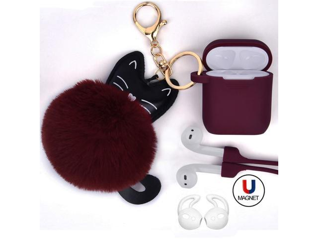 buy popular f528a 14db8 Airpods Case - Airspo Case for Airpods Silicone Case Cover Protective Skin  with Fur Ball Keychain/Magnetic Strap/Ear Hooks for Apple Airpods ...