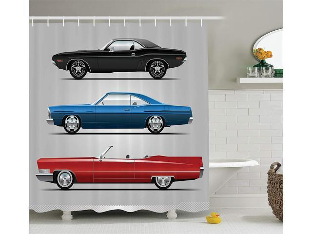 Old Fashion Cars >> Ambesonne Cars Decor Collection Set Of Old Fashion Cars In Different Colors Seventies Icon Effects Usa Theme Design Art Polyester Fabric Bathroom