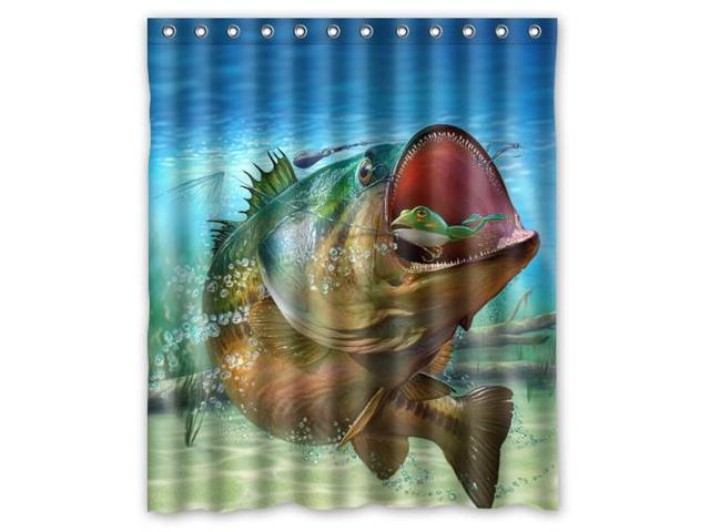 Bass Fishing Curtain: Beautiful Large Mouth Bass Colorful Catfish Jumping Out Of