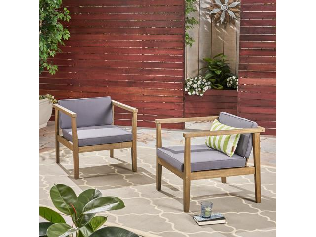 Stupendous Christopher Knight Home Newbury Club Chairs For Patio And Yard Acacia Wood Outdoor Cushions Gray And Dark Gray Set Of 2 Machost Co Dining Chair Design Ideas Machostcouk
