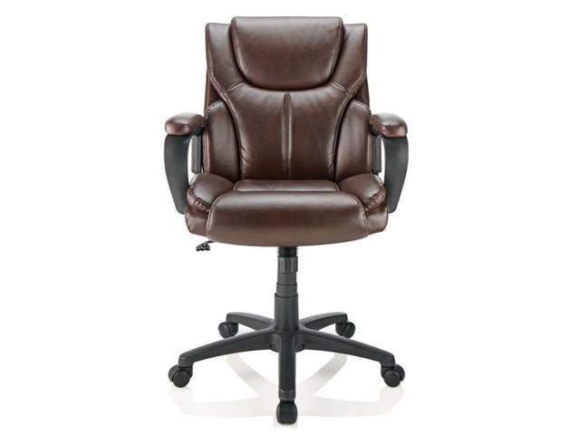 Astounding Brenton Studio Mayhart Vinyl Mid Back Chair Brown Black Alphanode Cool Chair Designs And Ideas Alphanodeonline