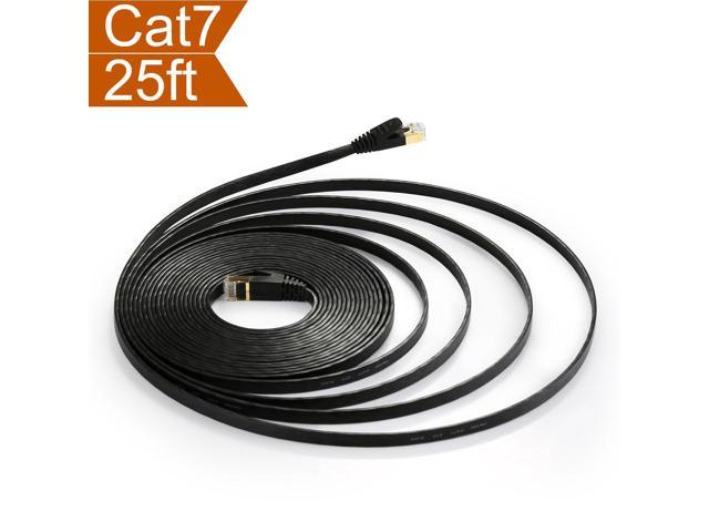 Flat Cat 7 Cables Ethernet Shielded Cat7 15ft With Snagless RJ45 Slim Patch STP