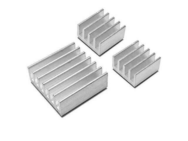 Black Case with 3 Pcs Aluminum Heatsink Cooler Cooling Kit for Raspberry Pi
