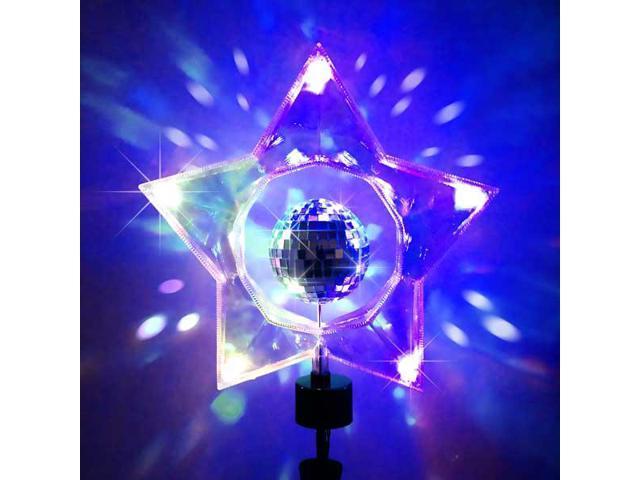 "14"" Retro Rotating Mirror Disco Ball Clear Star Christmas Tree Topper - Unlit"