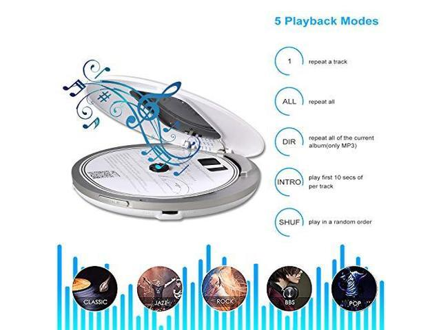 Portable CD Player for Car HOTT Compact Discman CD Player Walkman MP3 Music  CD Player with Earbuds LCD Display USB Cable Electronic Skip Protection