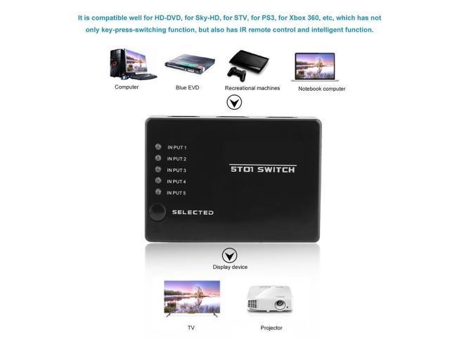 5 Port 1080P Video HDMI Switch Switcher Splitter For HDTV PS3 DVD + IR  Remote - Newegg com
