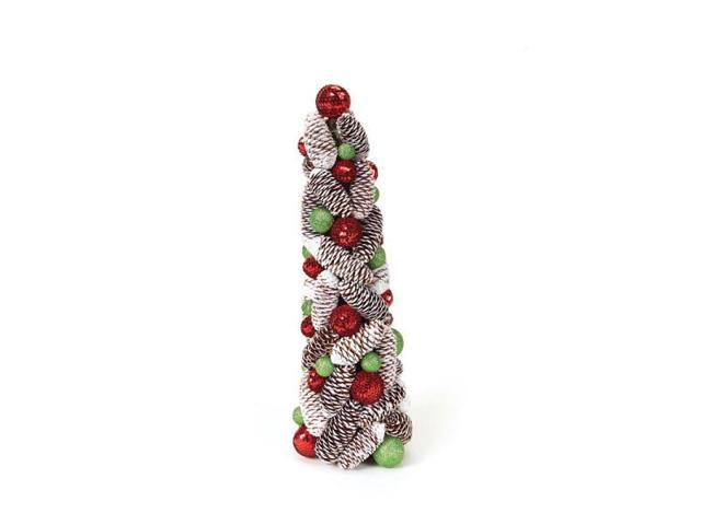 Christmas Topiary.18 Candy Crush Frosted Pine Cone And Ball Artificial Christmas Topiary Tree Newegg Com
