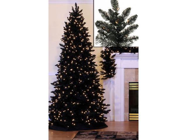 7.5' Pre-Lit Slim Black Ashley Spruce Artificial Christmas
