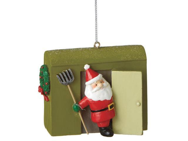 3 Green Smiling Santa In Ice House Christmas Ornament Newegg Com